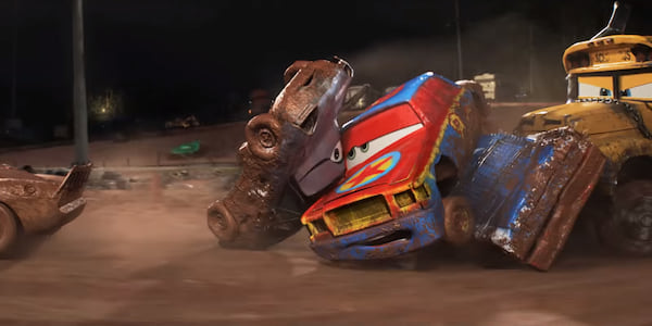 Two cars being piled up during a derby from Pixar's Cars 3, movies