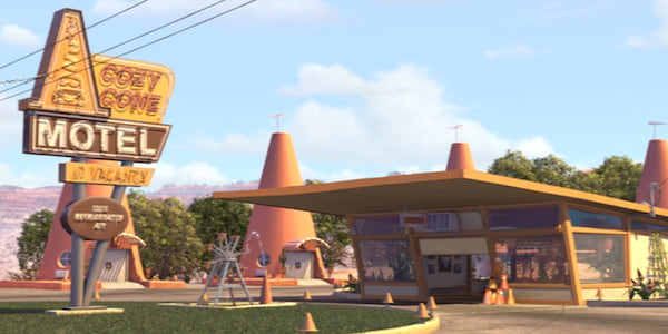 The Cozy Cone Motel from Pixar's Cars, movies