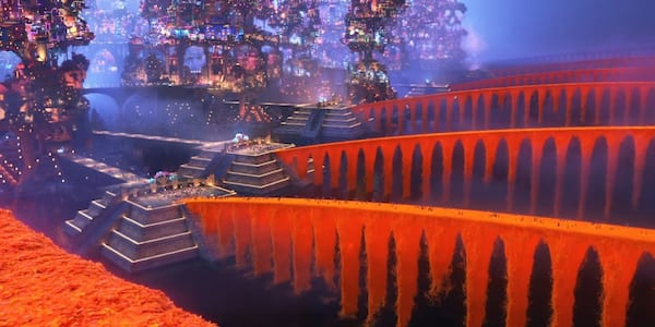 A colorful bridge of flower petals from Pixar's Coco, movies