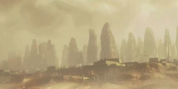 A scene of post-apocalyptic planet earth from Pixar's WALL-E, movies