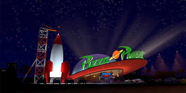 An outside view of Pizza Planet from Pixar's Toy Story, movies