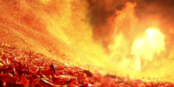 An image of the flaming pit of an incinerator from Pixar's Toy Story 3, movies