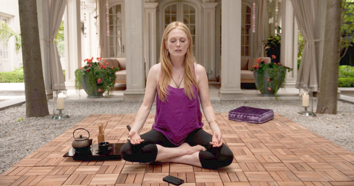 Julianne Moore meditating in Maps to the Stars