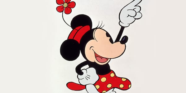 Minnie Mouse pointing in the air