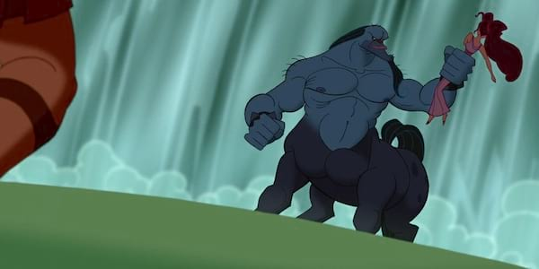 Nessus from Disney's Hercules holding a damsel in distress in a menacing stance, movies