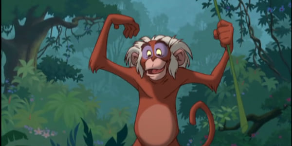 M.C. Monkey from Disney's The Jungle Book 2 with arms up in celebration, movies