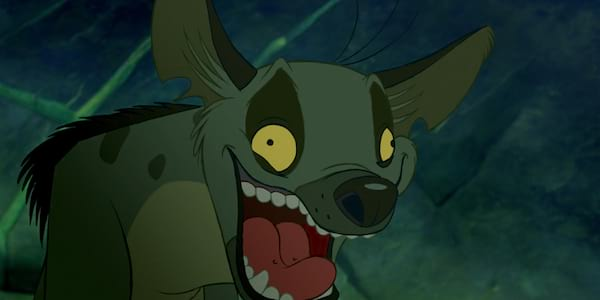 Ed from Disney's the Lion King laughing heartily at a joke, movies
