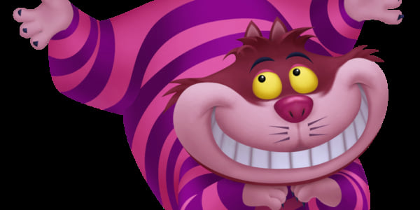 The Cheshire Cat from Disney's Alice in Wonderland grinning mischievously, movies