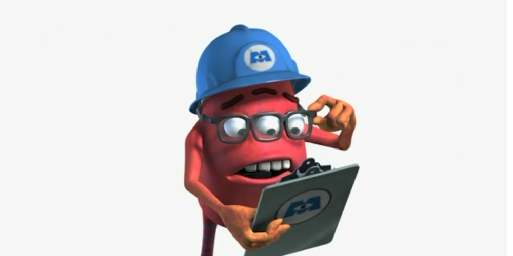 Fungus from Pixar's Monsters, Inc. reading over some data, movies