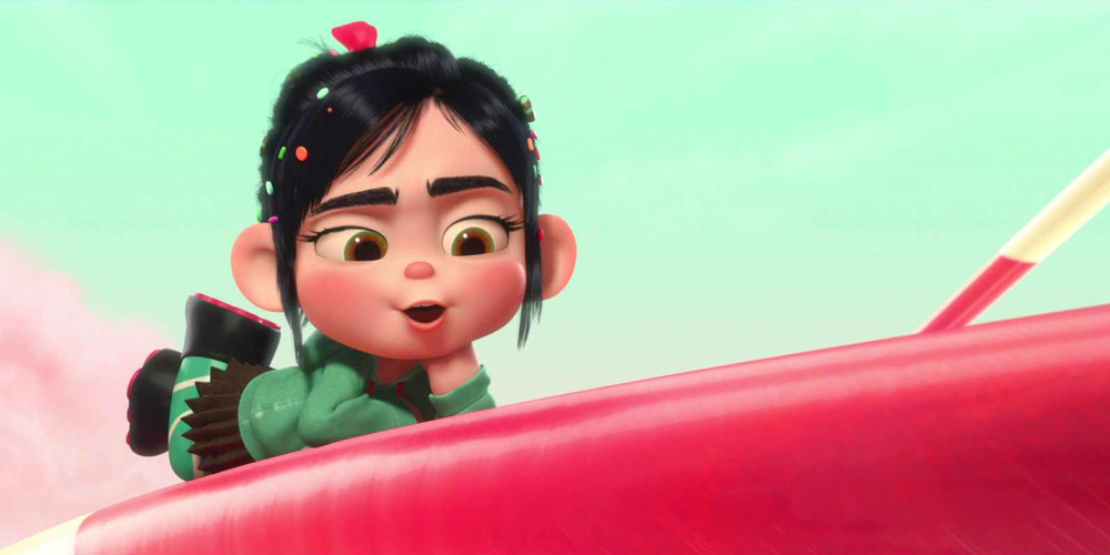 Vanellope from Disney's Wreck-It Ralph laying on a lollipop, movies