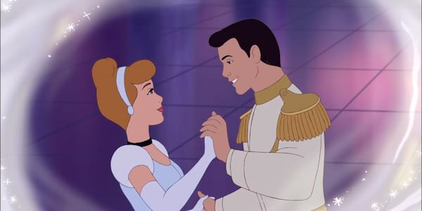 Cinderella and Prince Charming from Disney's Cinderella dancing, movies