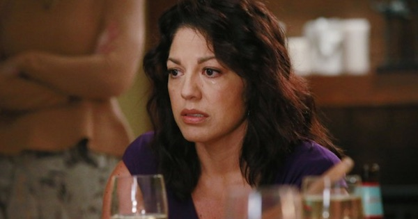 Callie Torres crying over wine glass Grey's Anatomy