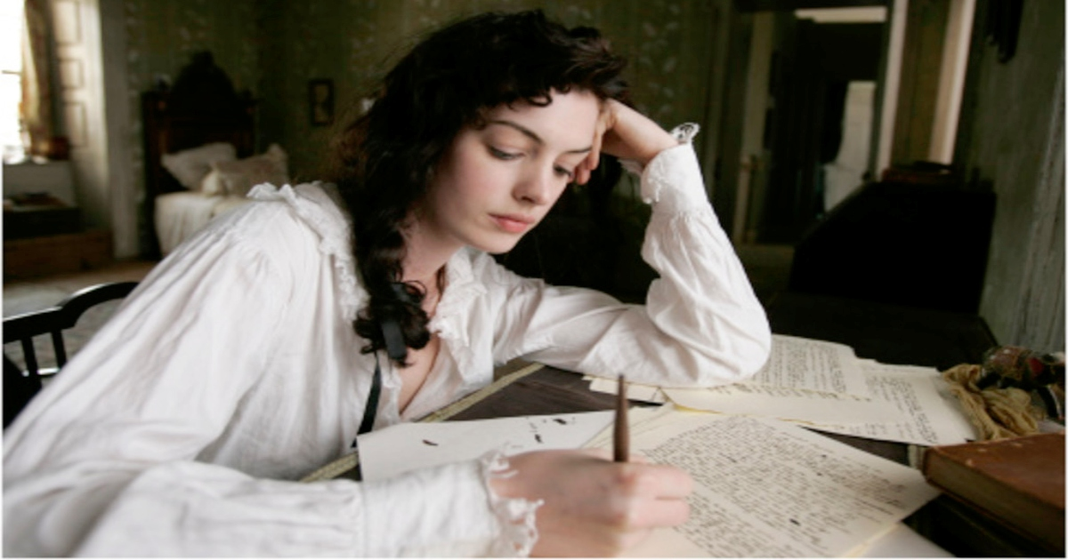 Anne Hathaway as Jane Austen writing