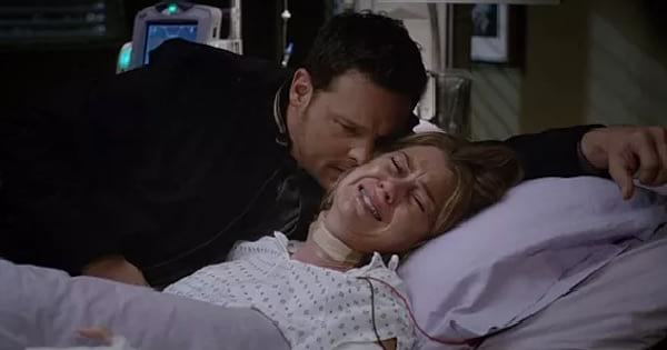 Alex Karev comforting Meredith after she was attacked Grey's Anatomy