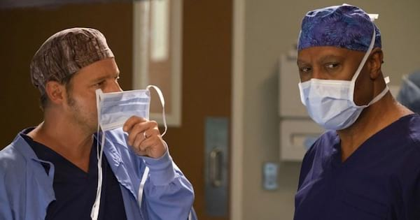 Grey's Anatomy 092518, Richard Webber and Alex Karev holding scrub masks to faces