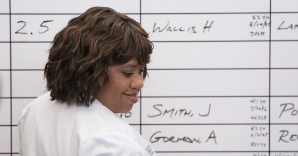 Miranda Bailey at white board turned around, Grey's Anatomy season 15