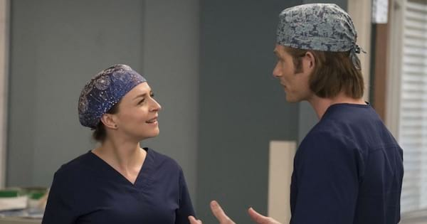 Grey's Anatomy via ABC, Caterine Scorsone and Chris Carmack talking