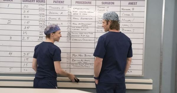 Grey's Anatomy season 15, Chris Carmack and Caterina Scorsone looking at each other talking