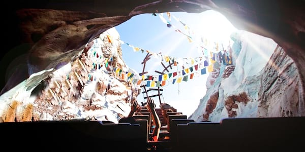 Man riding Expedition Everest in Walt Disney World Animal Kingdom with his hands up., movies