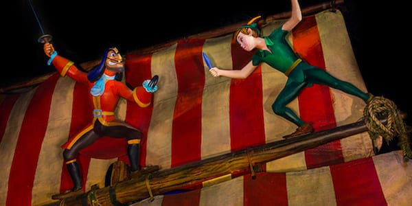 Peter Pan's Flight ride in Walt Disney World theme park with Captain Hook and Peter Pan fighting on a ship.