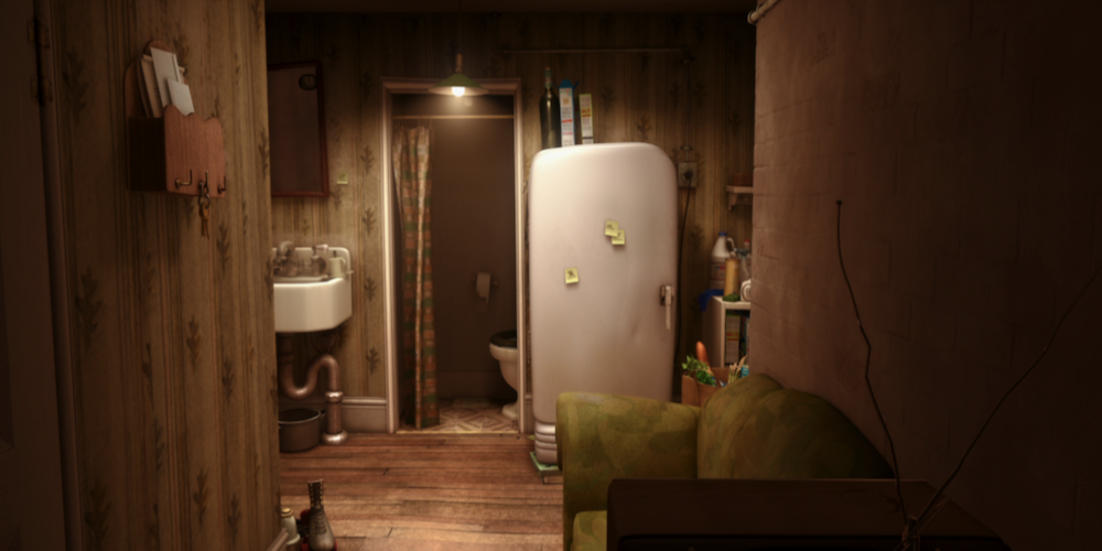Linguini's apartment interior with fridge, bathroom, sink, and couch from Pixar's Ratatouille., movies