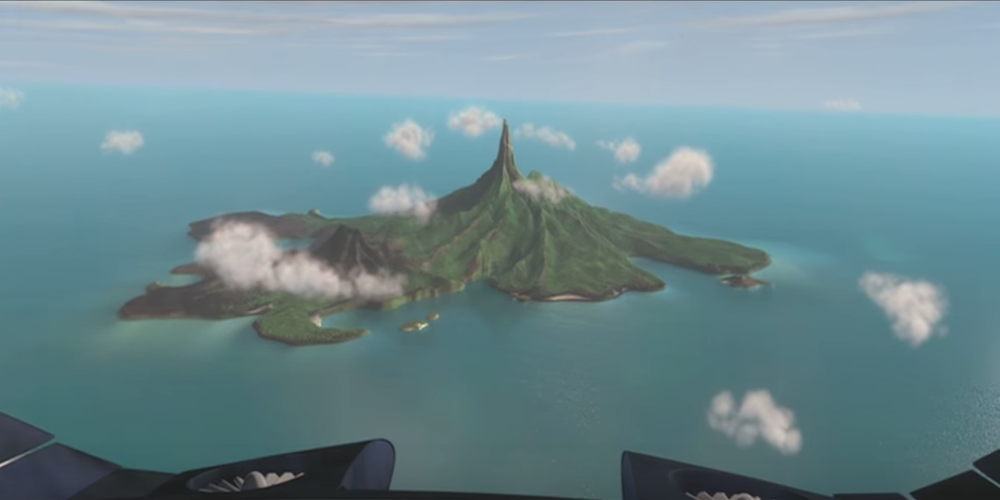 A full view of Nomanisland or Syndrome's Island from Pixar's The Incredibles., movies