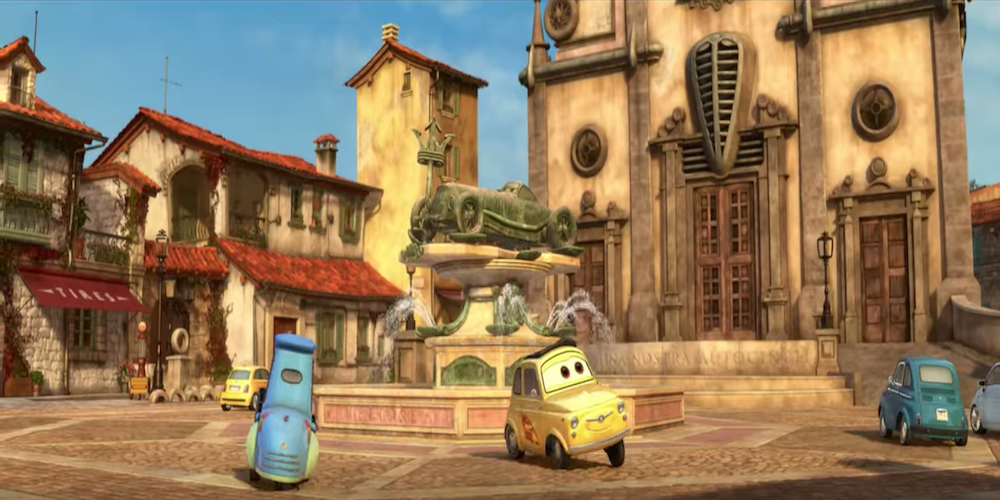 The town square and fountain of Luigi's Italian Village in Pixar's Cars 2., movies