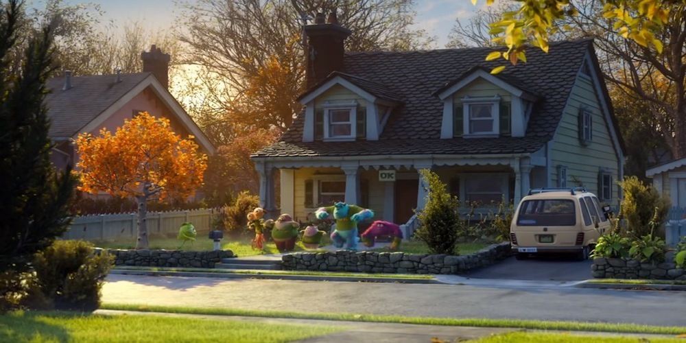 The Oozma Kappa fraternity house with the monsters practicing in front of it in Pixar's Monsters University., movies