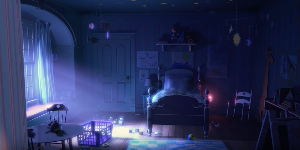 Boo's darkened bedroom at night from Pixar's Monsters, Inc., movies