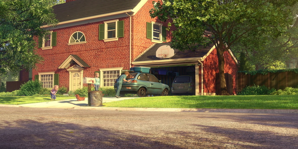 An exterior shot of Andy's red brick house and blue hatchback from Pixar's Toy Story 3., movies