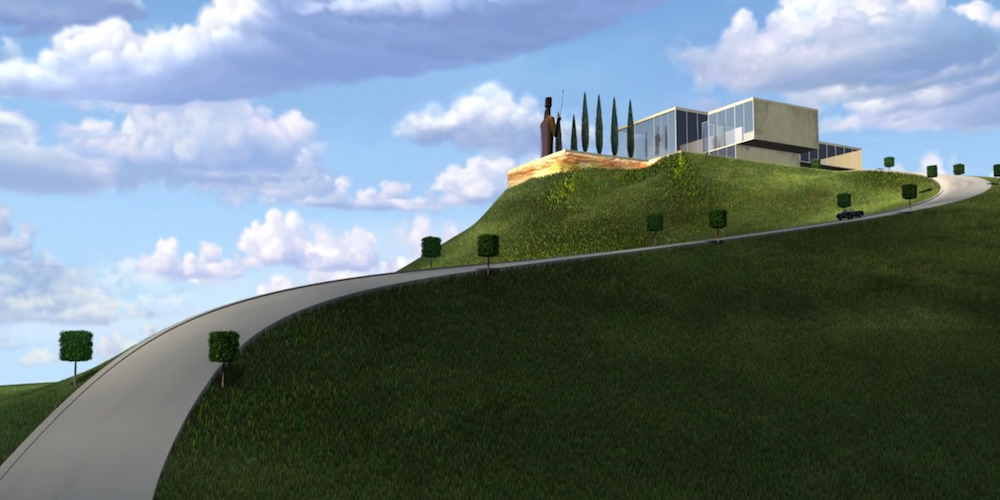 The driveway and hill leading up to Edna Mode's glass mansion from Pixar's The Incredibles., movies