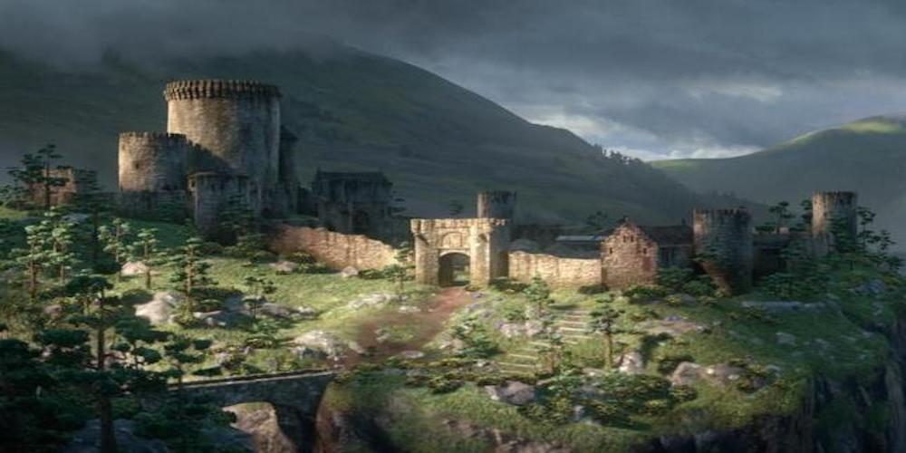 Dunbroch Castle and Merida's house exterior shot in the day time from Pixar's Brave., movies