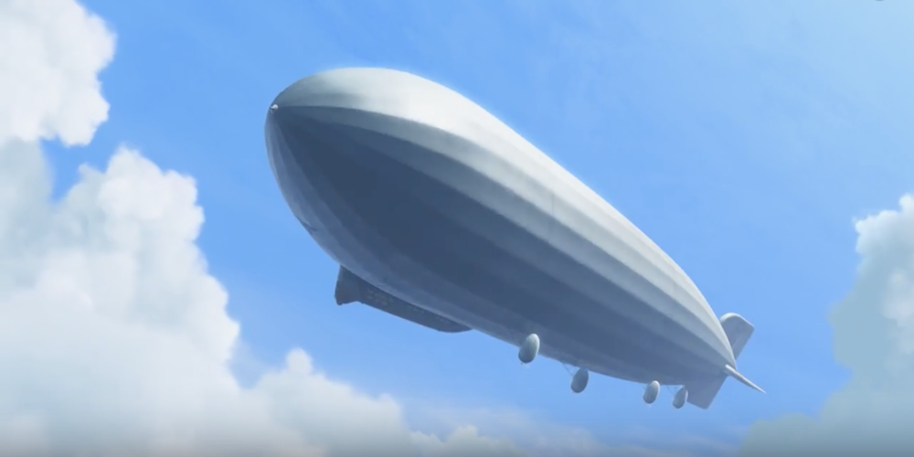 Charles Muntz's blimp twisting slightly to the side in the air from Pixar's Up., movies