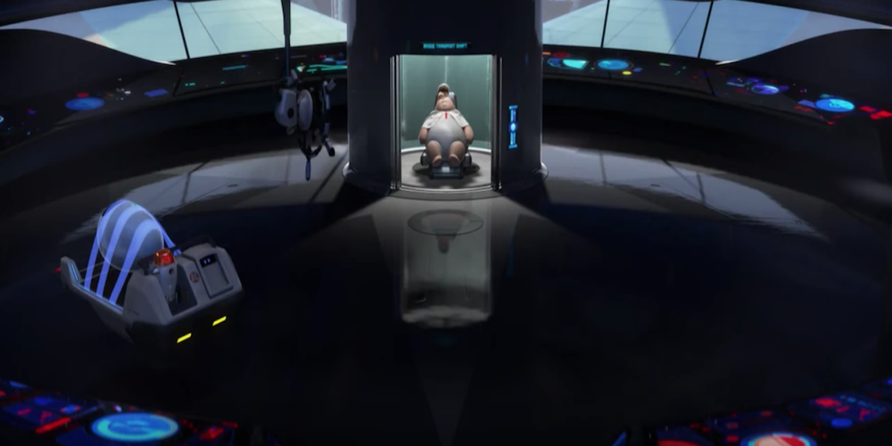 Captain B. McCrea's darkened living quarters on the B and L ship from Pixar's WALL-E., movies