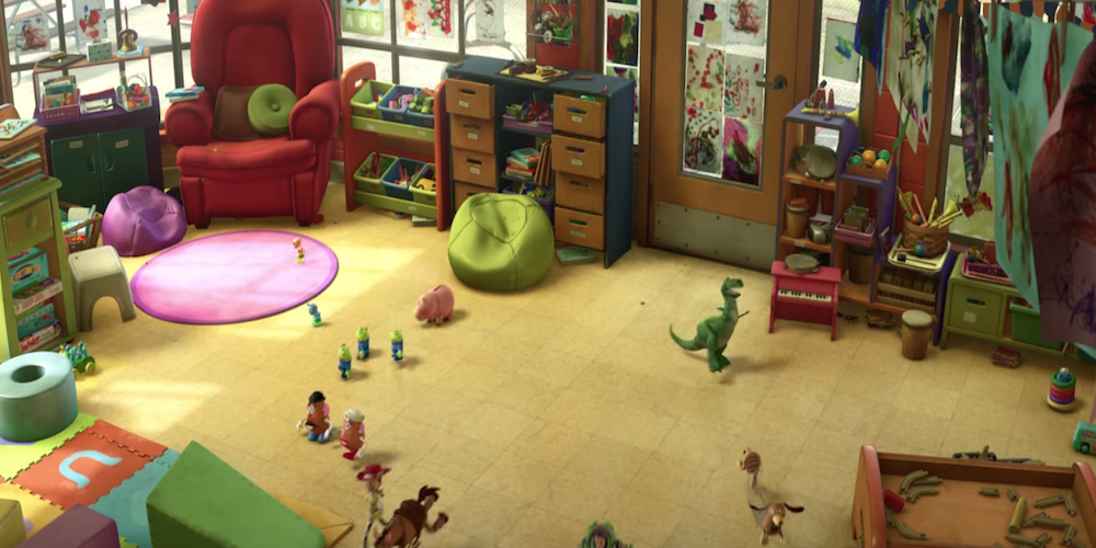 The toys scatter across the floor at the daycare before the children come in in Pixar's Toy Story 3., movies