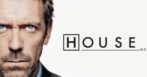 Dr. Gregory House close up photo with series title, best medical shows on tv ranking