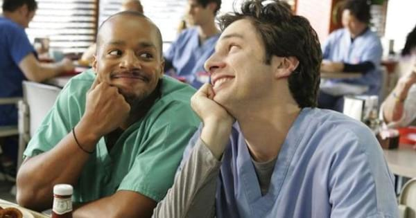scrubs characters smiling at cafeteria table, best medical shows on tv ranking