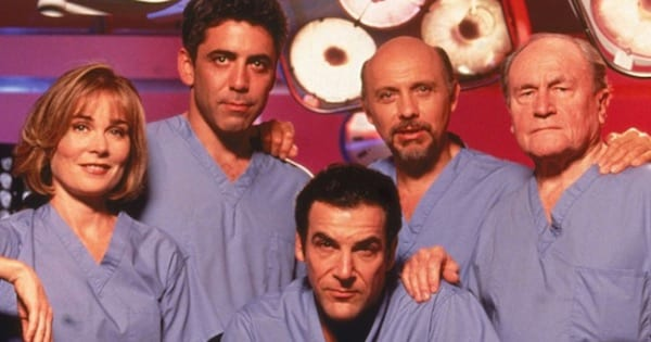 doctors of Chicago Hope in scrubs posing for photo, best medical shows on tv ranking