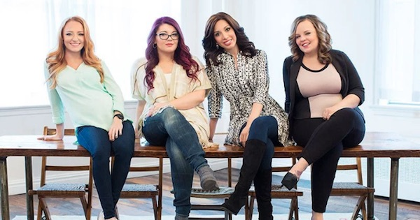 stars of 16 and Pregnant lined up sitting in chairs smiling, best pregnancy shows tv ranking
