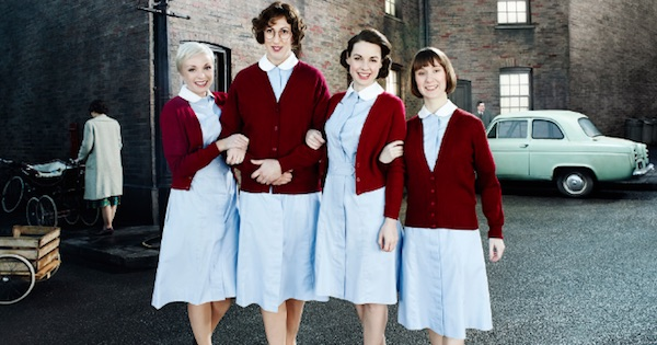 four nurses standing in street on Call The Midwife, best pregnancy tv show ranking
