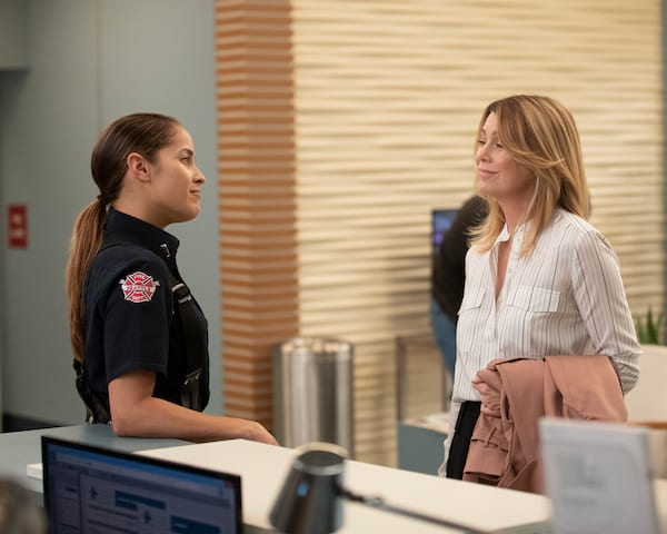 Meredith and firefighter smiling at each other, Grey's Anatomy season 15