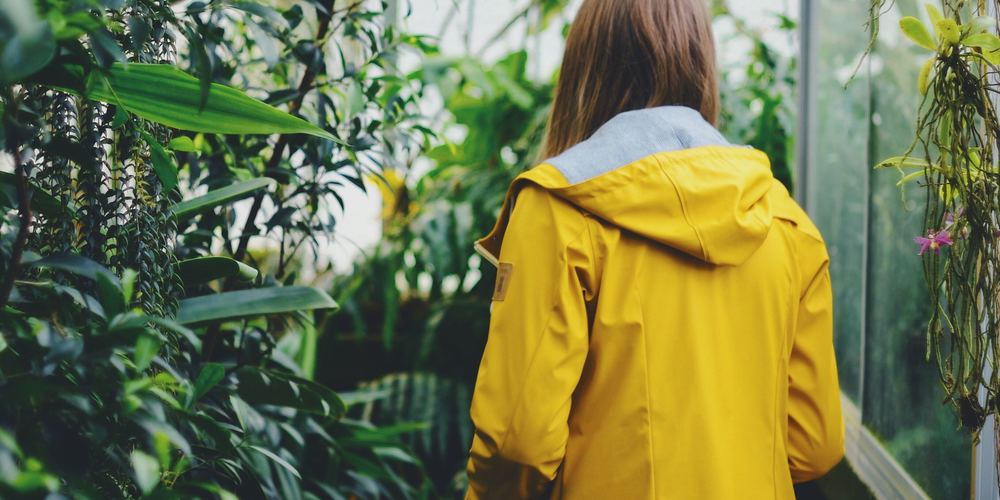 Women in yellow rain jacket walking through a greenhouse, plant Instagram captions