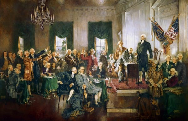 The Founding Fathers sign the Declaration of Independence.