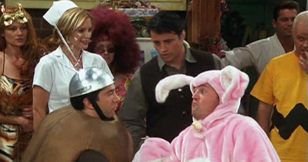 friends characters on halloween dressed up in costumes, tv entertainment nbc