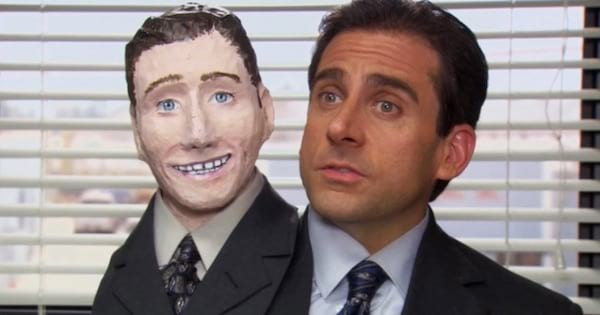 Michael Scott on the office holding a puppet next to his head, tv entertainment Halloween