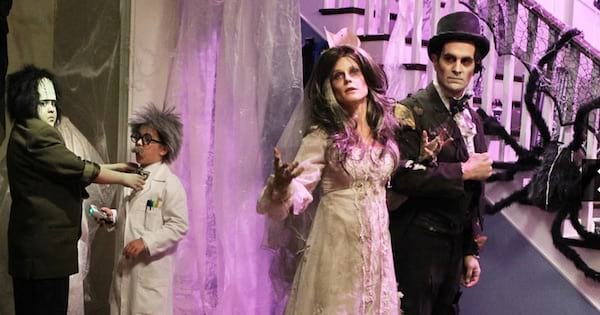 Modern Family dressed up for Halloween with dead husband and bride mad scientist and frankenstein costumes, tv entertainment