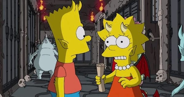 The Simpsons dressed up for Halloween in costumes cartoon characters, tv entertainment