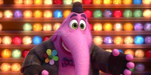 Bing Bong from Pixar's Inside Out smiling with hand extended, movies