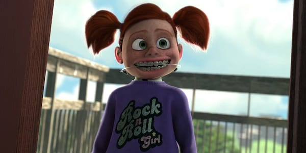 Darla from Pixar's Finding Nemo staring and smiling, movies