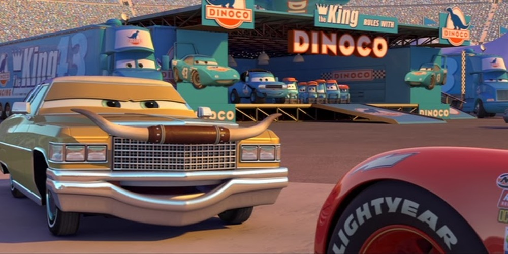 Tex from Pixar's Cars pitching to Lightning McQueen, movies